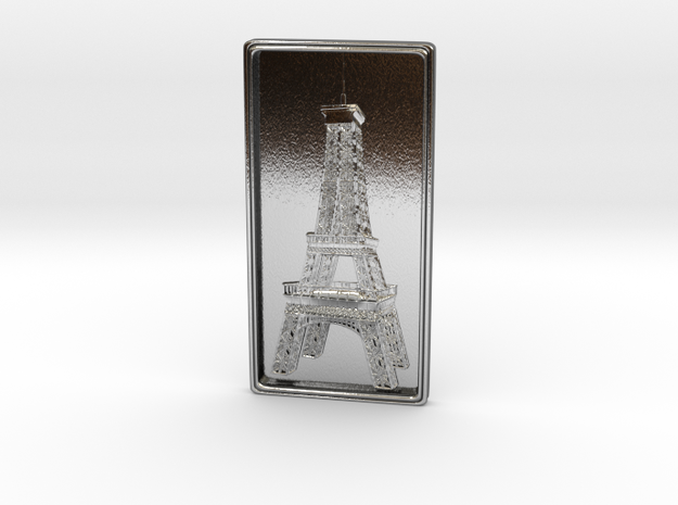 Eiffel Tower Bas-Relief in Polished Silver