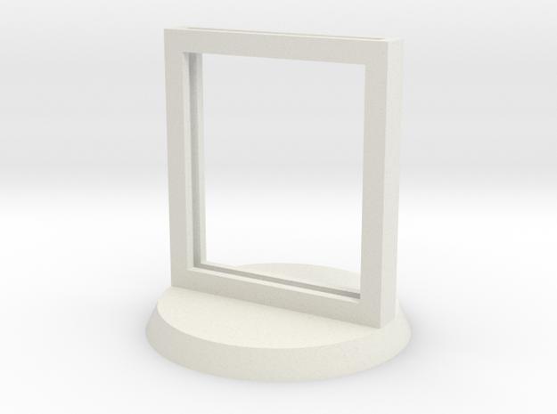 "Paper Insert Miniature Stand 1"" (Circular Base) in White Natural Versatile Plastic"