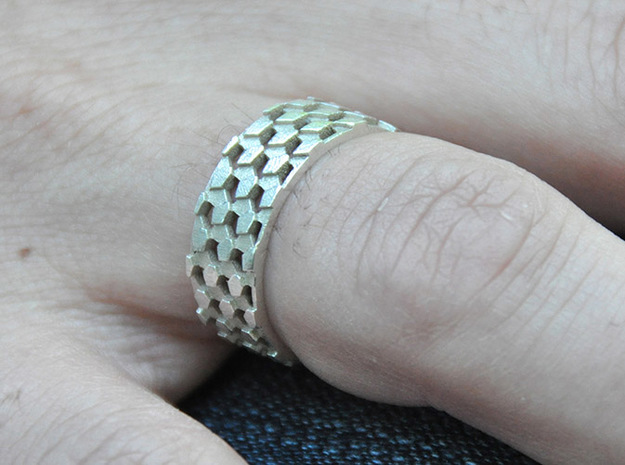 Parquet Deformation Ring (59mm) in Polished Bronzed Silver Steel