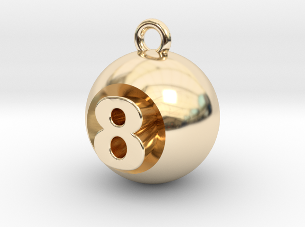 8 Ball in 14k Gold Plated Brass
