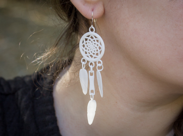 Feather Dream Catcher Earrings in White Processed Versatile Plastic