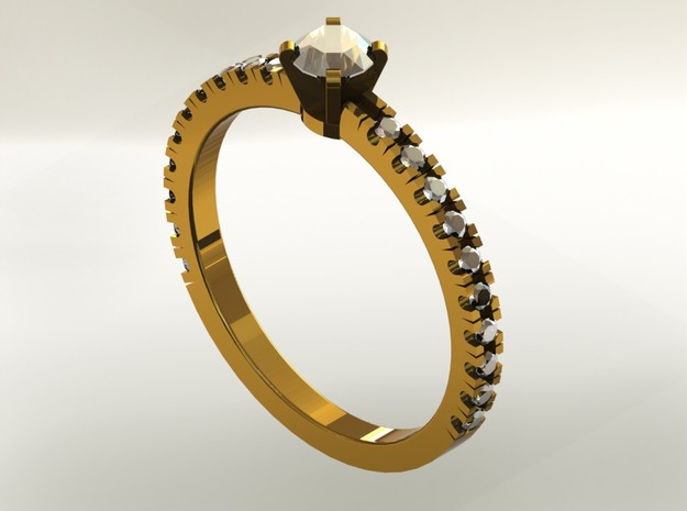 Engagement Ring in Polished Gold Steel