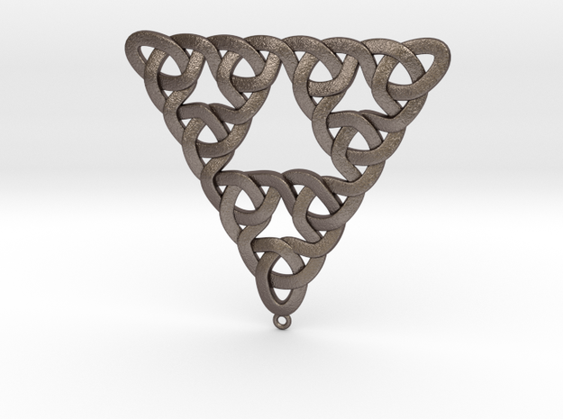 Sierpinski Trefoil Knot in Polished Bronzed Silver Steel