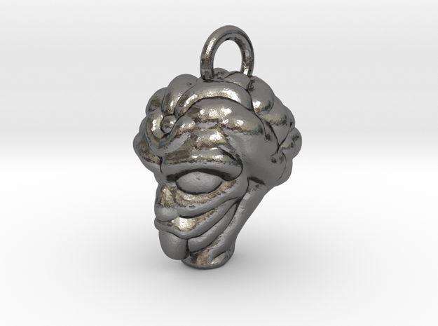 Alien Head Key Ring Add-on in Polished Nickel Steel