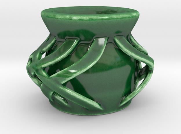 Lattice Espresso Cup in Gloss Oribe Green Porcelain