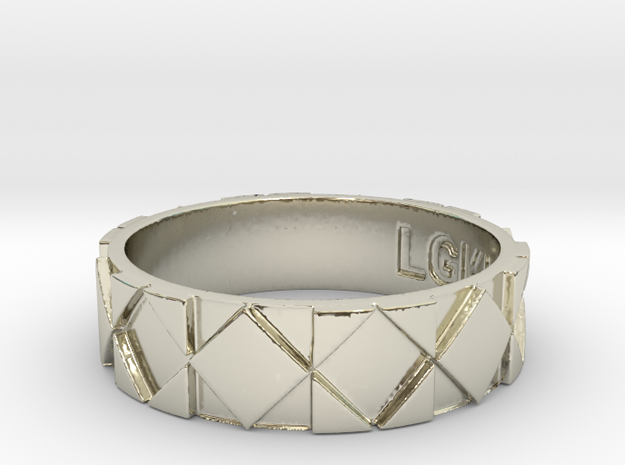Futuristic Rhombus Ring Size 14 in 14k White Gold