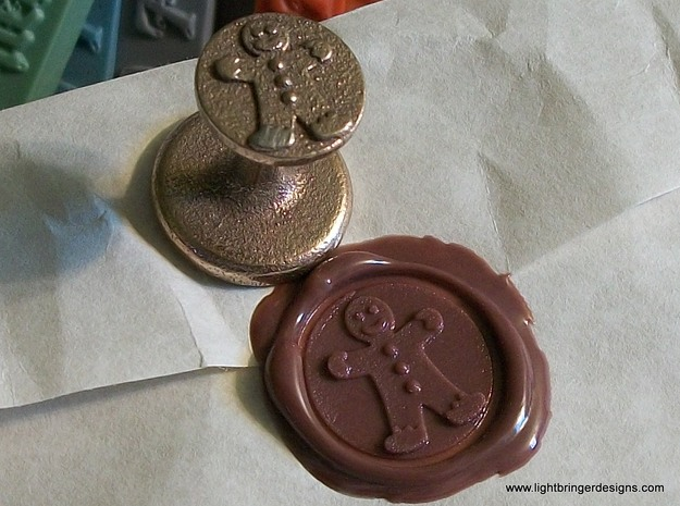Gingerbread Man Wax Seal in Polished Bronzed Silver Steel