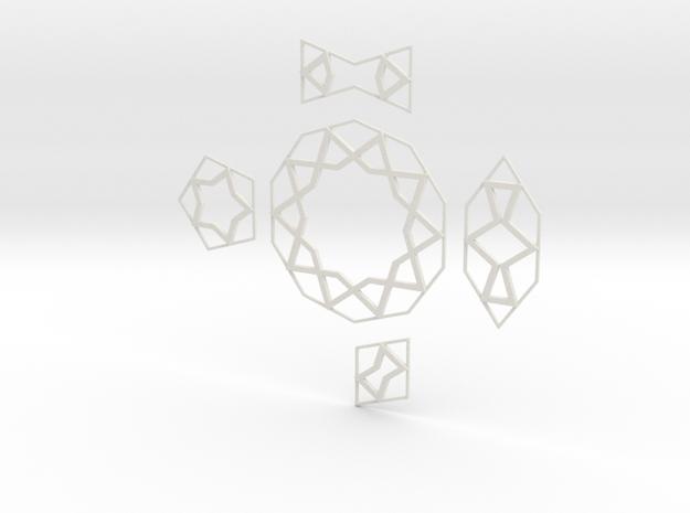 Girih Tiles in White Strong & Flexible