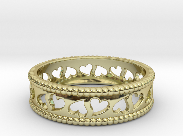 Size 7 Hearts Ring A in 18k Gold Plated Brass