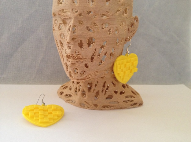 Mosaic Heart Earrings Large in Yellow Strong & Flexible Polished