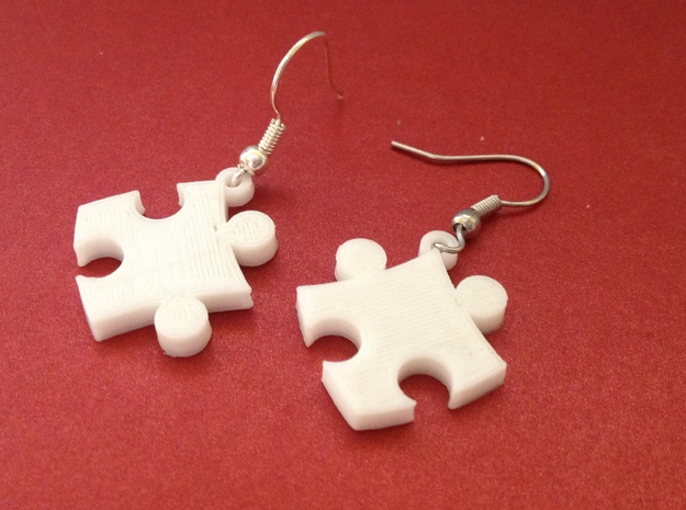 Puzzle Earrings in White Strong & Flexible Polished