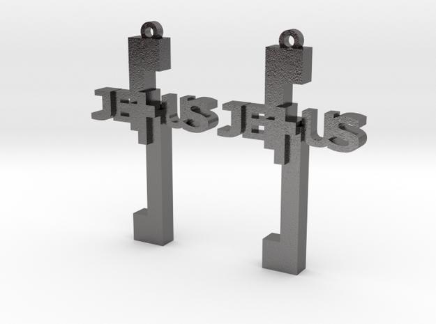 Jesus Earrings in Polished Nickel Steel