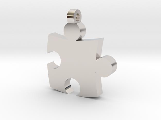 Puzzle Pendant in Rhodium Plated Brass