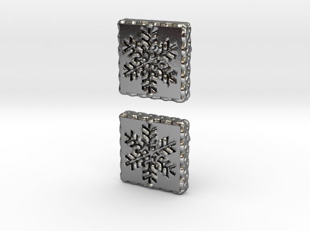Snowflake Cufflinks (Curved Post) in Polished Silver