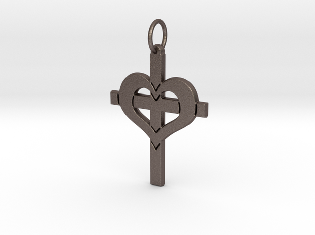 Christ in your Heart Crucifix Pendant in Polished Bronzed Silver Steel