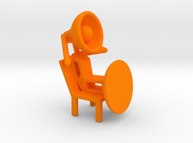 Lala - Relaxing in chair - DeskToys in Orange Strong & Flexible Polished