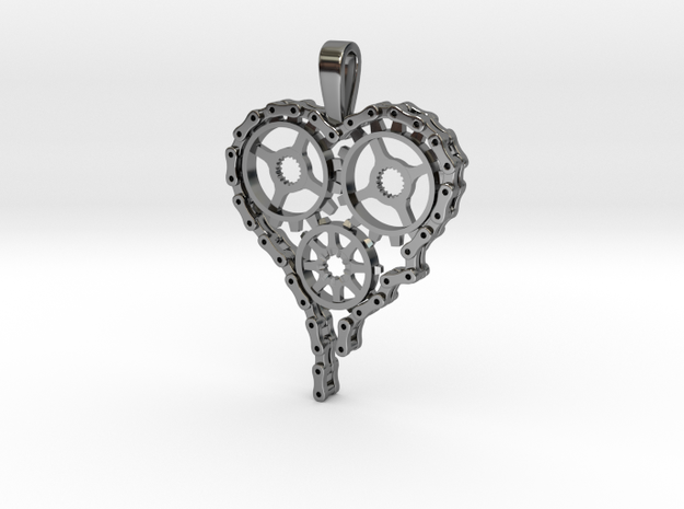 Steam Punk Gear Heart in Fine Detail Polished Silver