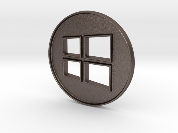 Giant Windows Coin (6 inches)  in Polished Bronzed Silver Steel
