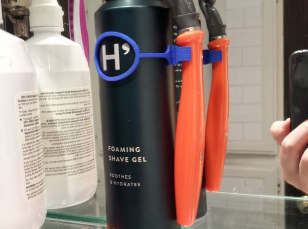 Shave cream can clip compatible with Harry's Razor in Blue Processed Versatile Plastic