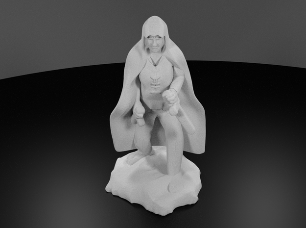 Halfling Rogue in Cape with two Daggers in White Processed Versatile Plastic