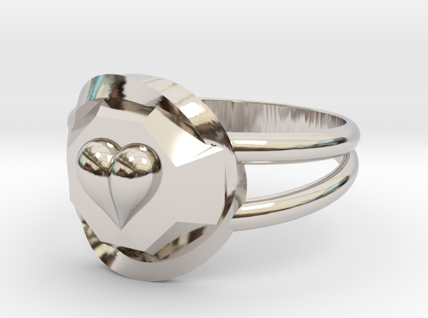 Size 6 Diamond Heart Ring F in Rhodium Plated Brass
