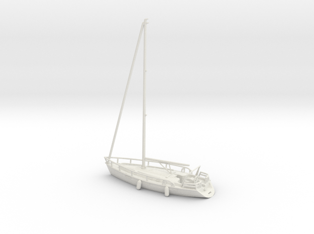 Sailboat 01.N Scale (1:160) in White Strong & Flexible