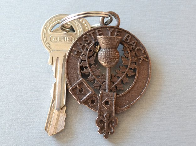 "Scottish Thistle key fob ""Haste Ye Back"" in Polished Bronze Steel"