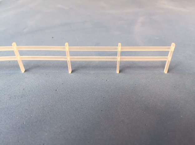 Post and rail fence kit HO Scale (10 Piece) in Smooth Fine Detail Plastic
