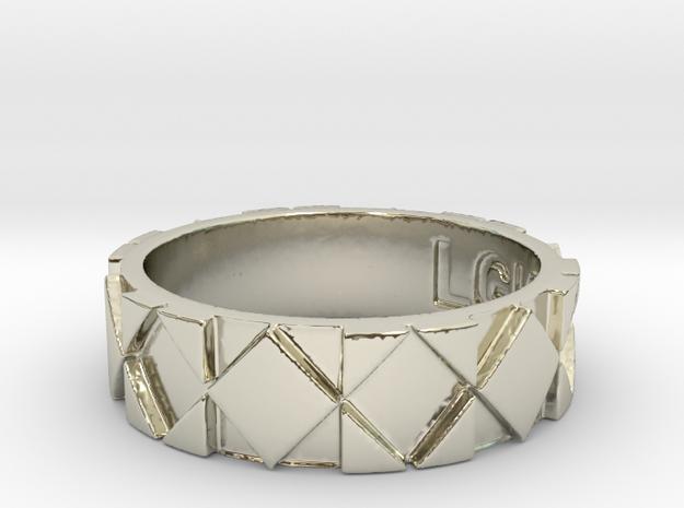 Futuristic Rhombus Ring Size 8 in 14k White Gold