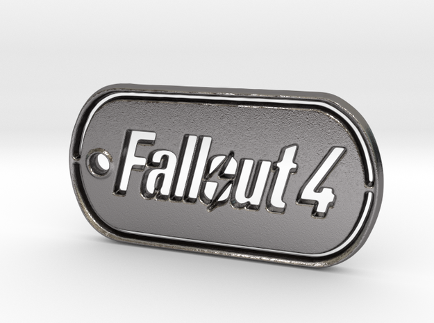 Fallout 4 Dog Tag in Polished Nickel Steel