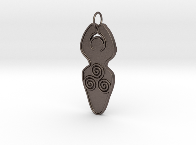 Spiral of Life Goddess Symbol Pendant in Polished Bronzed Silver Steel