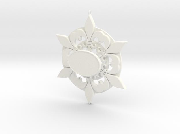 Fleur De Lis Snowflake Ornament in White Strong & Flexible Polished