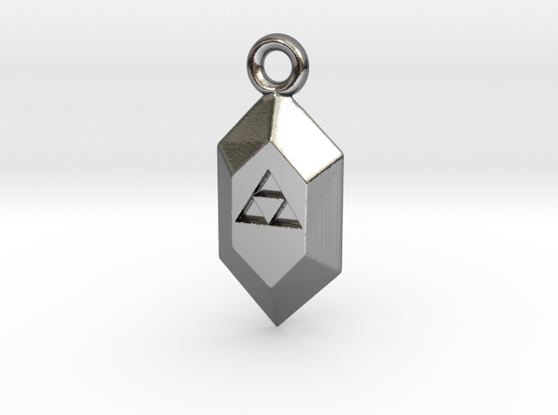 Triforce Rupee Charm in Fine Detail Polished Silver