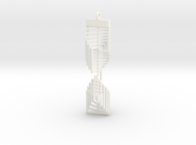 Square Twist Ornament Pendant in White Processed Versatile Plastic