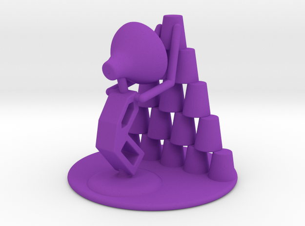 "Juju ""Playing with cups""  - DeskToys in Purple Processed Versatile Plastic"