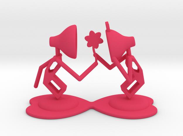 "Lala ""Giving Flower to Lele"" - DeskToys in Pink Processed Versatile Plastic"