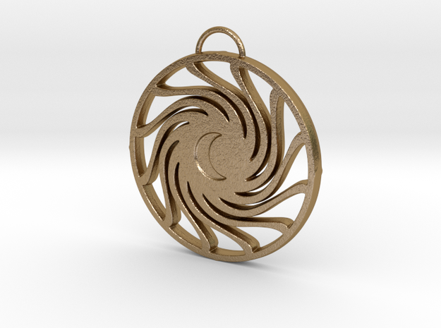 Stylized Sun with Crescent Moon in Polished Gold Steel