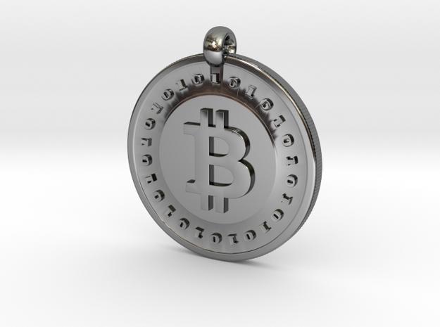 Bitcoin pendant in Premium Silver