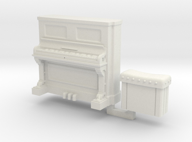 28mm/32mm Upright Piano and stool  in White Strong & Flexible