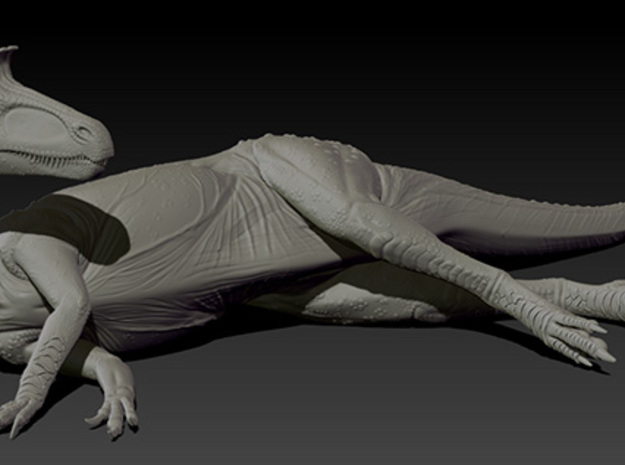 1/40 Cryolophosaurus - Laying on Side 3d printed Zbrush render of final sculpt