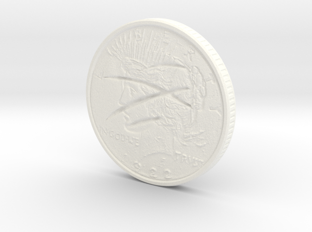 Two Faced Silver Dollar with scars on one side in White Processed Versatile Plastic