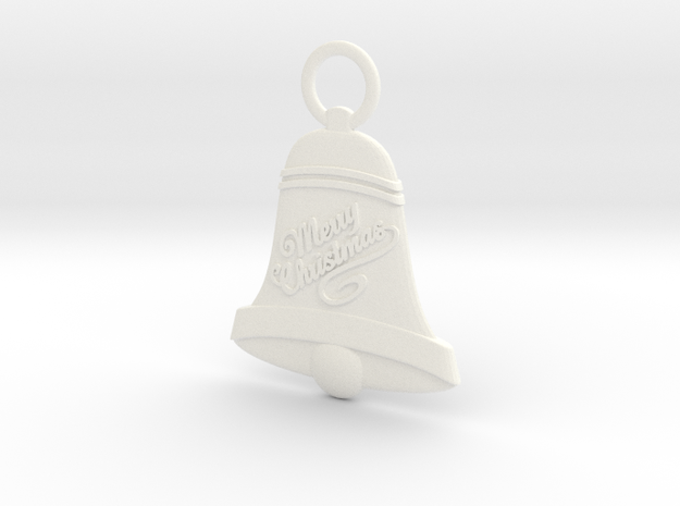 Bell Christmas Ornament in White Processed Versatile Plastic
