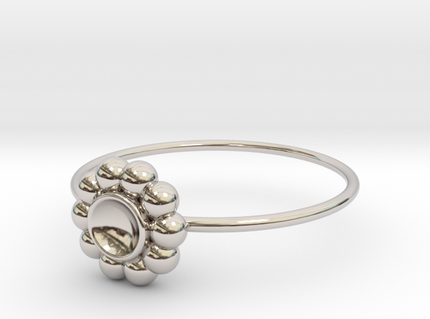 Size 10 Shapes Ring S5 in Rhodium Plated Brass