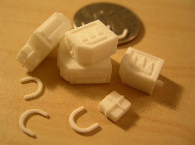 DreadShoota 3d printed The parts, in WSF.  That's a US quarter in the background.