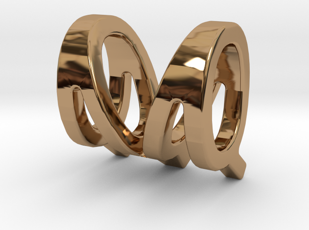 Two way letter pendant - MQ QM in Polished Brass