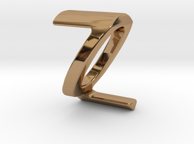 Two way letter pendant - QZ ZQ in Polished Brass
