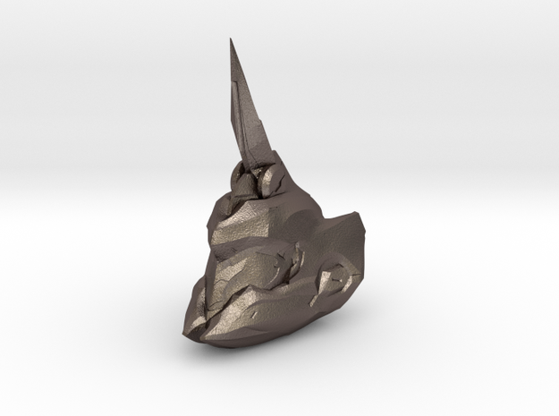 Fotus helmet 1/6 scale in Polished Bronzed Silver Steel