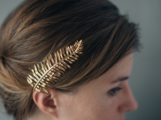Sword Fern Comb in Polished Brass