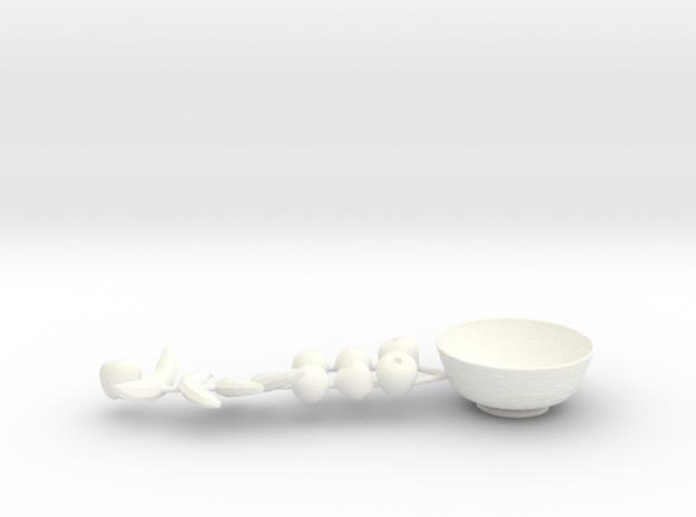 Fruit Bowl  in White Processed Versatile Plastic