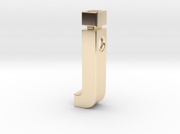 j pendant in Helvetica font in 14k Gold Plated Brass